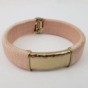 Chico's Silk Wrapped Hammered Bangle Bracelet Pink